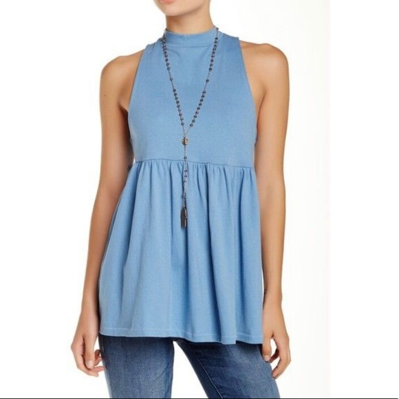 Free People Tops - Free People Washed Blue Mock Neck Babydoll